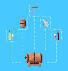 wine barrel and connected icon vector image