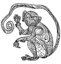 Zentangle Hand drawn doodle ornate Monkey vector image
