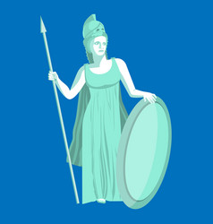 athena or athene marble statue on blue background vector image
