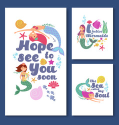 cute kids nautical cards marine childrens vector image