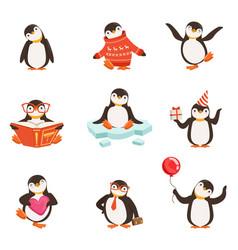 Cute little penguin cartoon characters set for vector