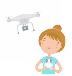 Girl with remote controlling aerial drone vector