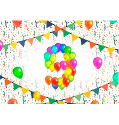 number nine made up from colorful balloons on vector image vector image