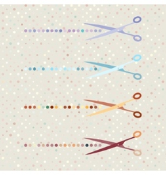 retro scissors and cut lines set on polka dot vector image