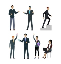 Set of People Managers Wishing to Show Good Result vector image