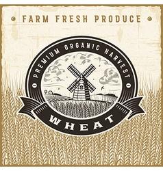 Vintage wheat harvest label vector image vector image