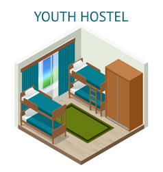 youth hostel building facade backpack double vector image
