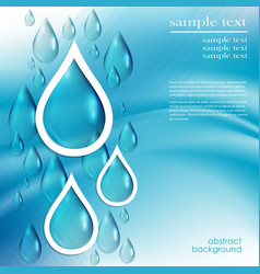abstract blue background with water drops vector image vector image