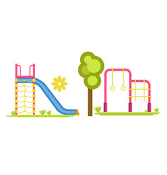 Child playground with slides and bars vector