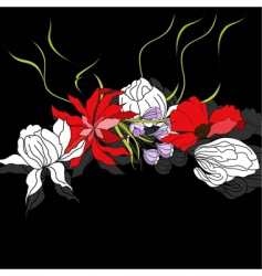 colorful flowers on black background vector image vector image