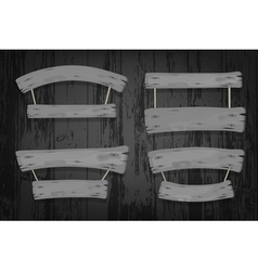 Grey wooden banners and ribbons hanging on ropes vector image