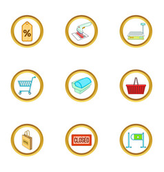 purchase icons set cartoon style vector image vector image