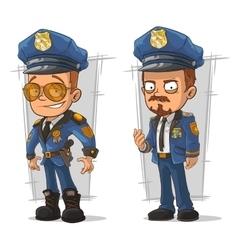 Set of cartoon cops in blue uniform vector image vector image