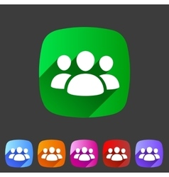 Users group social icon flat web sign symbol logo vector image