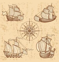 vintage ships collection antique travel boat set vector image