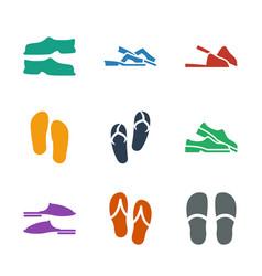 9 slipper icons vector