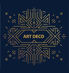 Abstract geometric art deco frame border vector