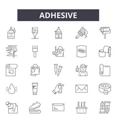 Adhesive line icons signs set linear vector