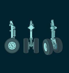 Aircraft landing gear color drawings vector
