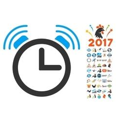 Alarm Clock Icon With 2017 Year Bonus Symbols vector