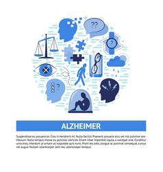 Alzheimer s symptoms round concept banner in flat vector