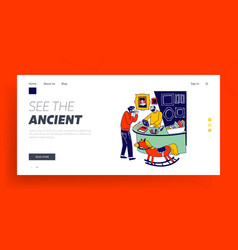 Antiquities landing page template collector vector