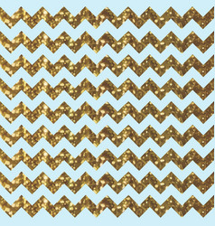 aqua zigzag pattern with glittery gold effect vector image