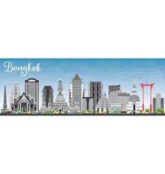 Bangkok Skyline with Gray Landmarks vector image