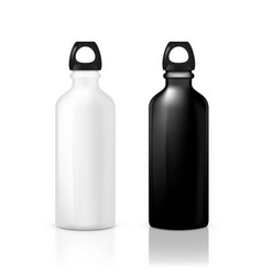 Black and white glossy metal water sport bottle vector