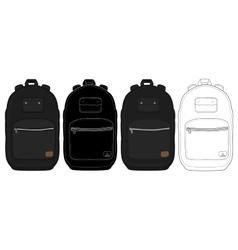 Black urban backpack set vector