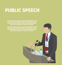 businessman stands behind podium on public speech vector image