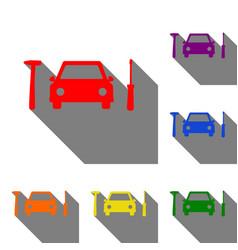 car tire repair service sign set of red orange vector image