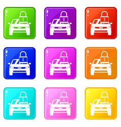 Car with padlock icons 9 set vector