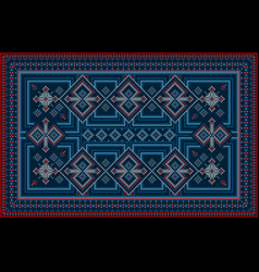 Carpet with geometric ornaments in blue shades vector