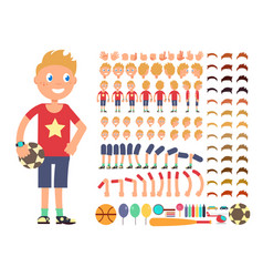 Cartoon boy character creation constructor vector