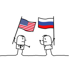 Cartoon people opinions - american and russian vector
