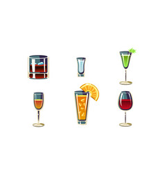 cartoon set of alcoholic drinks in vector image