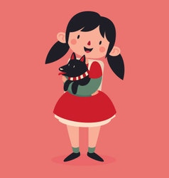 Christmas Girl Holding her Dog vector