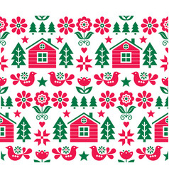 christmas scandinavian seamless pattern vector image