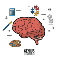 Colorful poster of genius mind with brain in vector