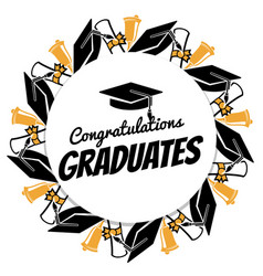 Congrats graduates round banner with students vector