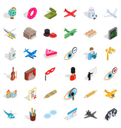 Conquest icons set isometric style vector