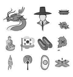 country south korea monochrome icons in set vector image