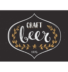 Craft Beer Template Hand Drawn Calligraphy Pen vector
