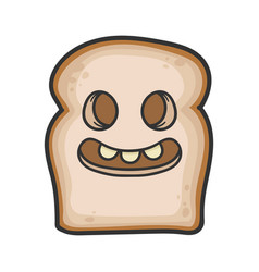Creepy smiling slice bread cartoon vector