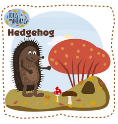 cute hedgehog on a background of a landscape with vector image