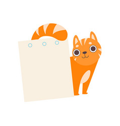 Cute red cat with empty sheet paper adorable vector