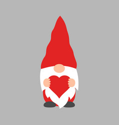 cute valentine gnome with a heart in his hands vector image