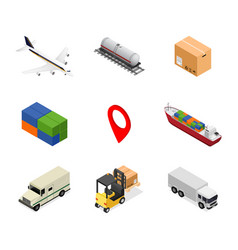 delivery icon set isometric view vector image