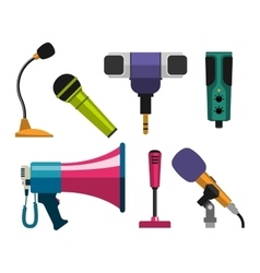 Different microphones icons vector image